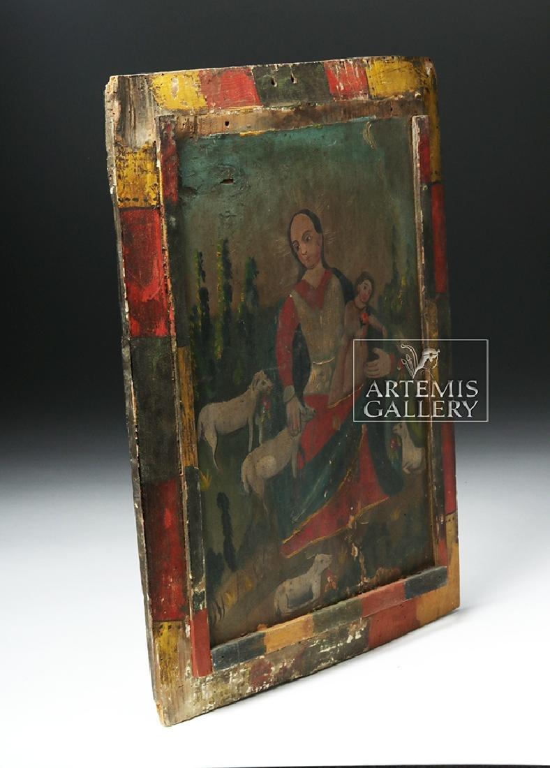 Mexican 19th C Painted Wood Retablo - Divina Pastora - 4