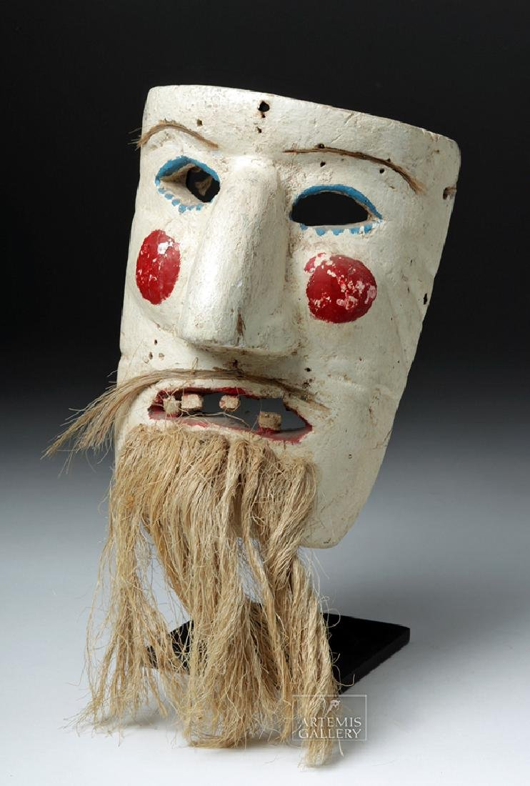 Early 20th C. Mexican Wood Mask - Pastorela Hermit