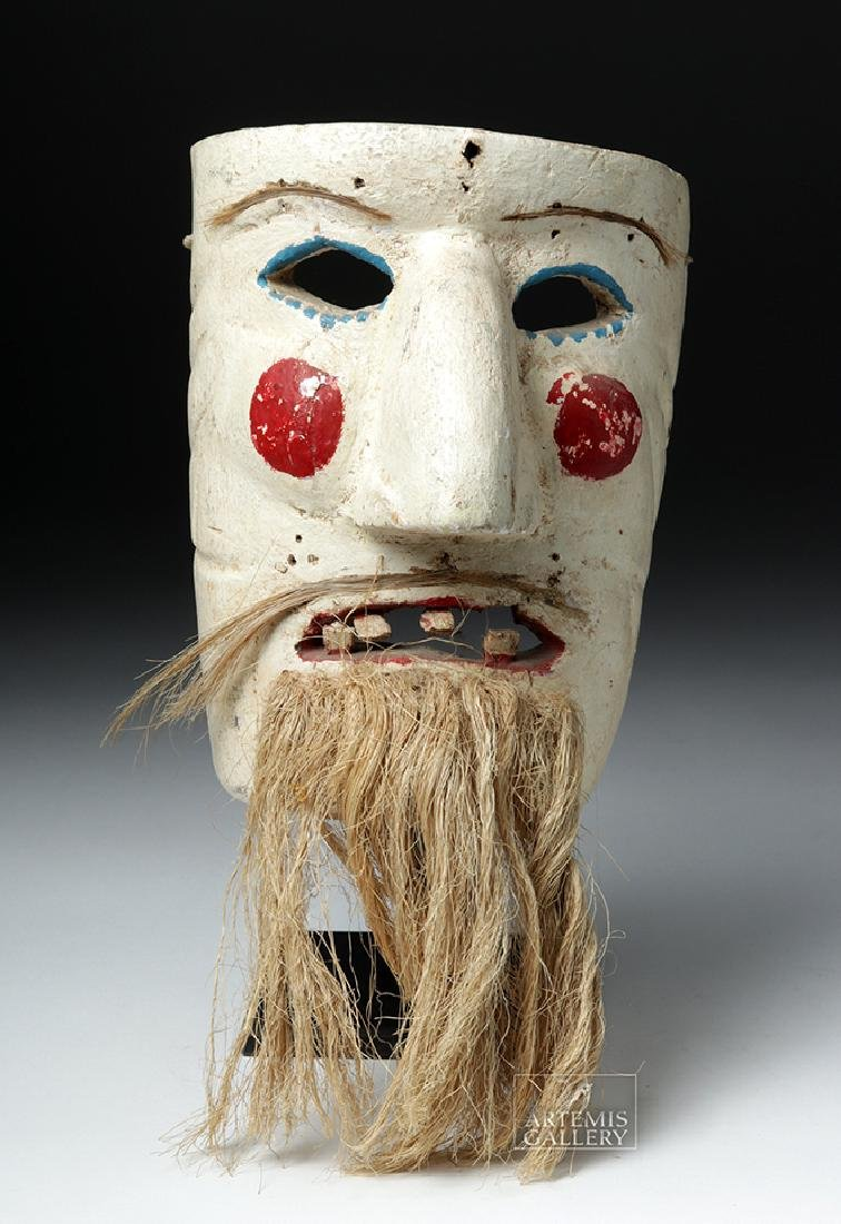 Early 20th C. Mexican Wood Mask - Pastorela Hermit - 2