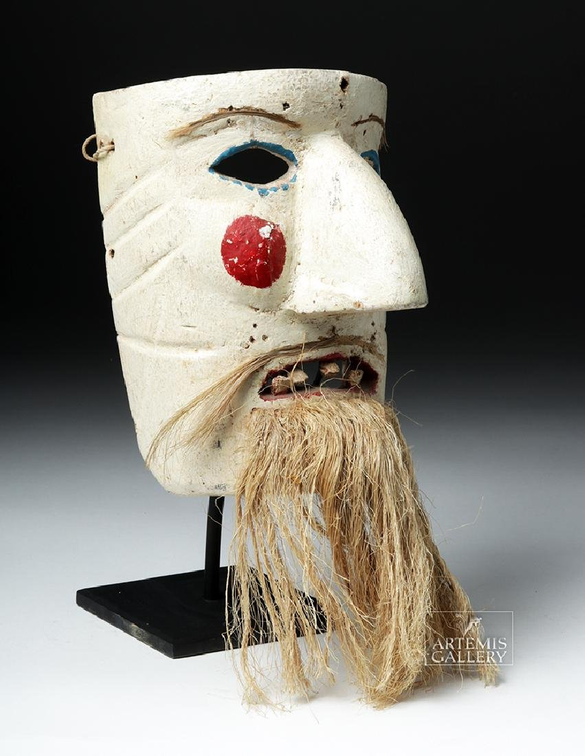 Early 20th C. Mexican Wood Mask - Pastorela Hermit - 3