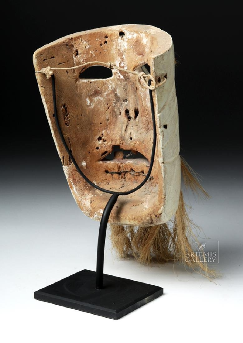 Early 20th C. Mexican Wood Mask - Pastorela Hermit - 4