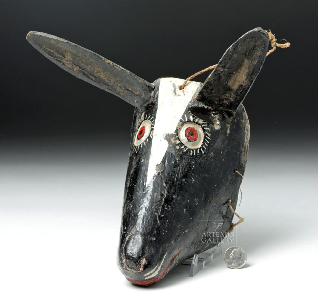 Early 20th C. Guatemalan Wooden Festival Mask - Donkey