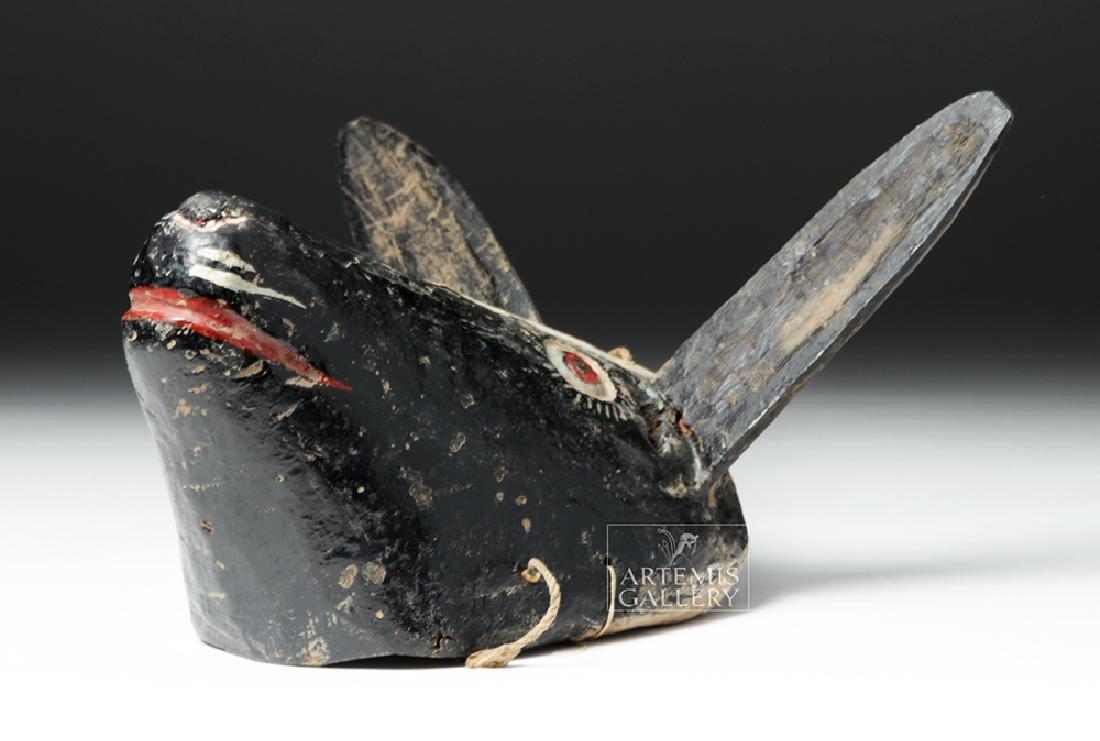 Early 20th C. Guatemalan Wooden Festival Mask - Donkey - 6