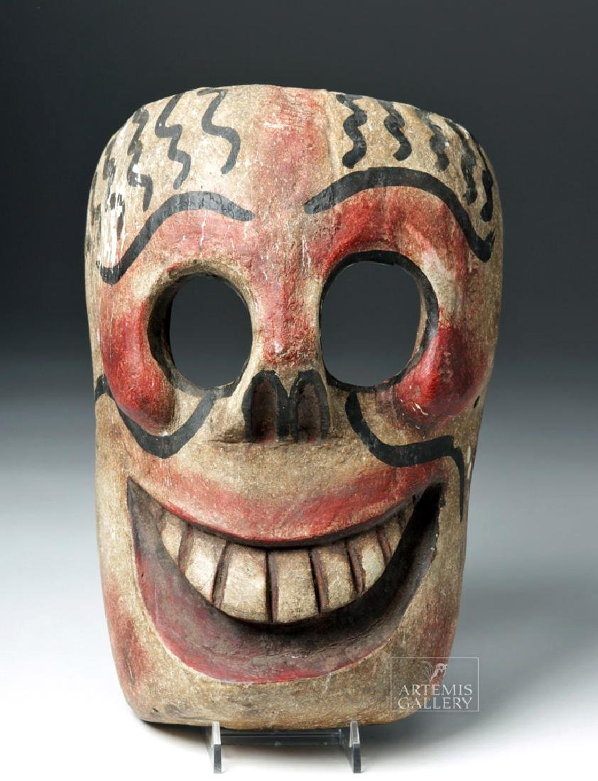 20th C. Mexican Wooden Day of the Dead Carnival Mask