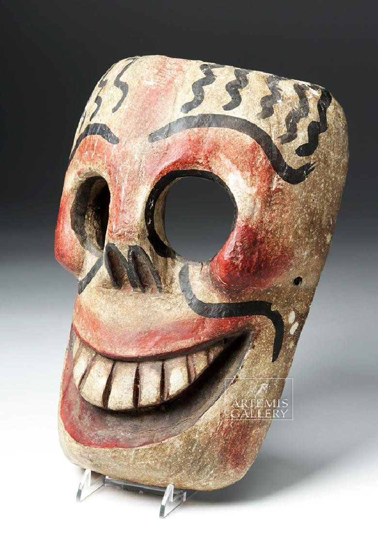 20th C. Mexican Wooden Day of the Dead Carnival Mask - 2