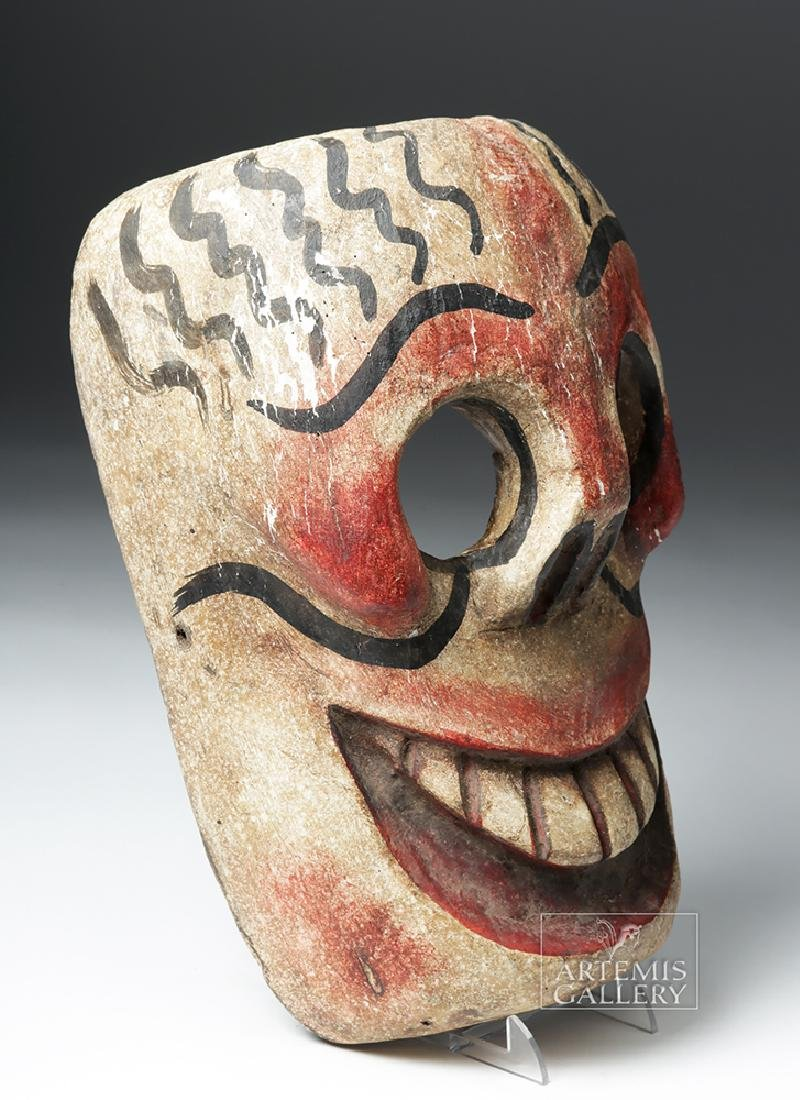 20th C. Mexican Wooden Day of the Dead Carnival Mask - 3