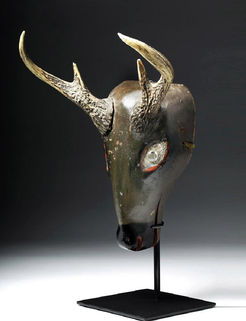 20th C. Fabulous Guatemalan Wooden Festival Mask - Deer