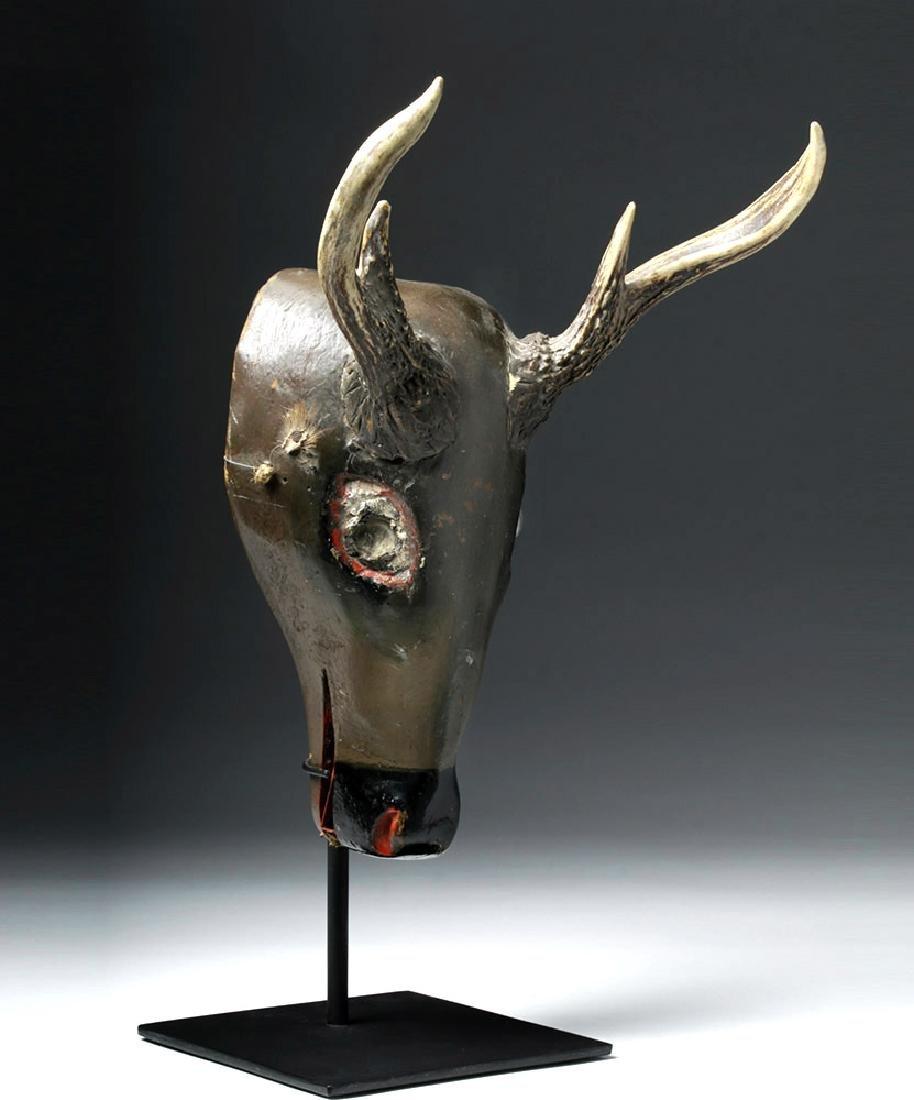 20th C. Fabulous Guatemalan Wooden Festival Mask - Deer - 2