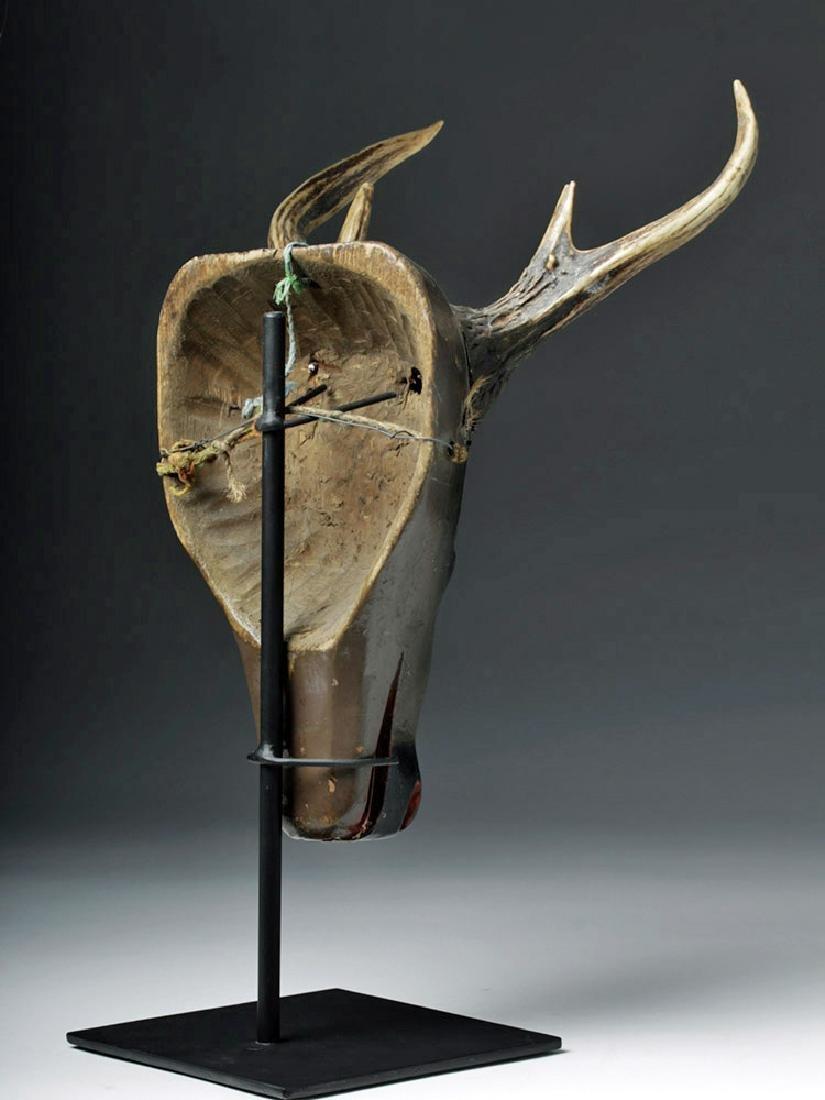 20th C. Fabulous Guatemalan Wooden Festival Mask - Deer - 3