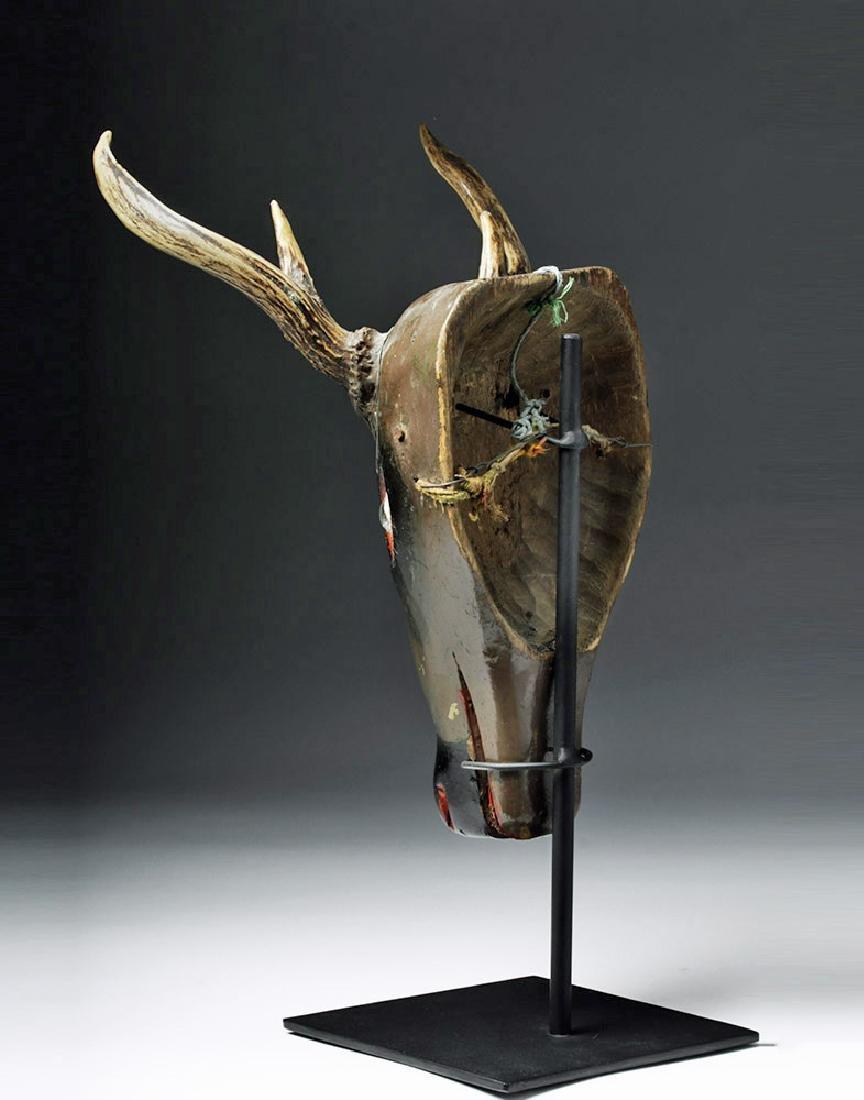 20th C. Fabulous Guatemalan Wooden Festival Mask - Deer - 4