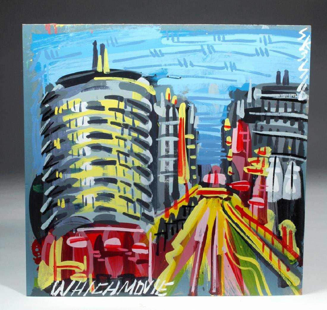Steve Keene Painting of Capitol Records Building - 4