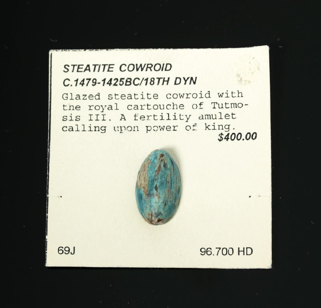 Egyptian Steatite Amulet w/ Tutmosis III Cartouche - 2
