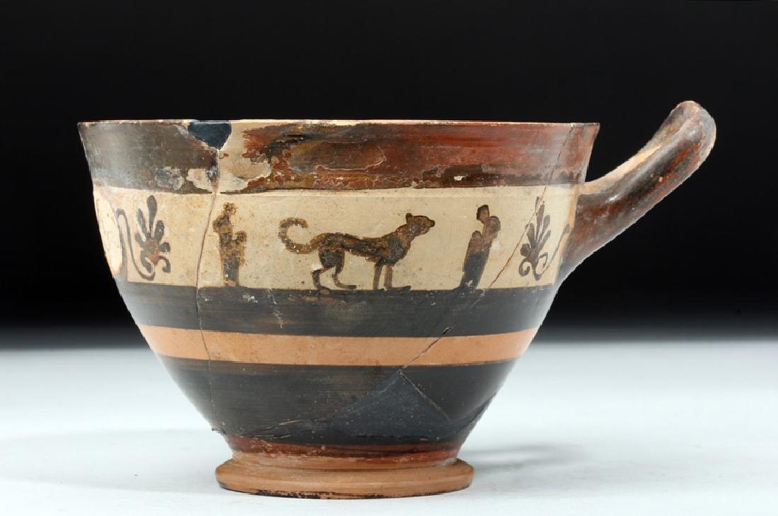 Greek Attic White Ground Pottery Skyphos - Lions