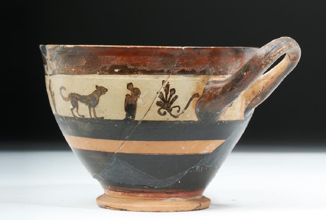 Greek Attic White Ground Pottery Skyphos - Lions - 2