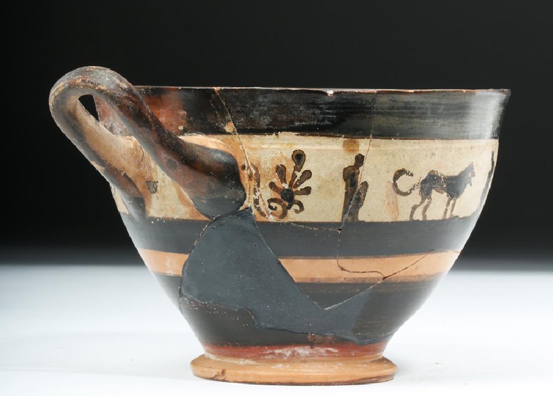 Greek Attic White Ground Pottery Skyphos - Lions - 3