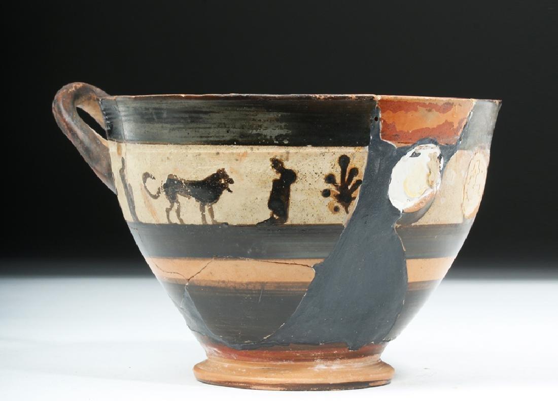 Greek Attic White Ground Pottery Skyphos - Lions - 4