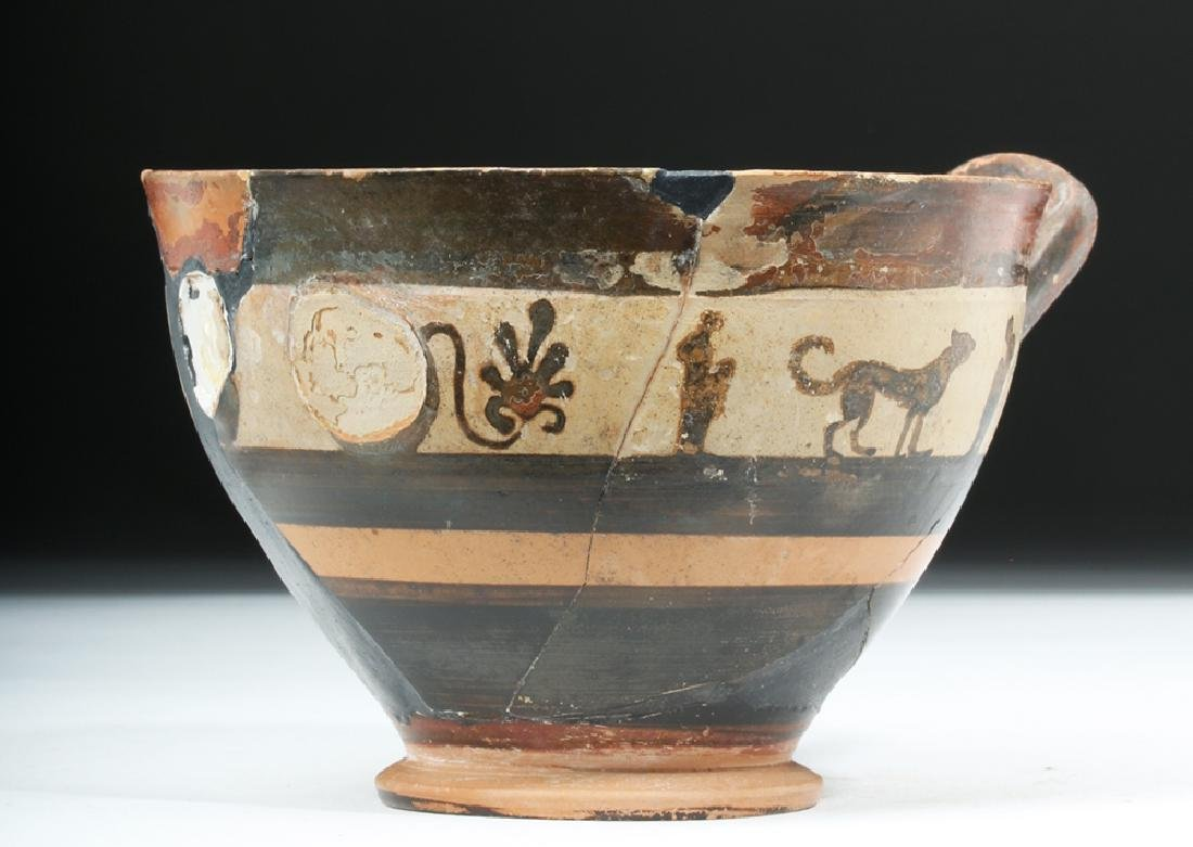 Greek Attic White Ground Pottery Skyphos - Lions - 5
