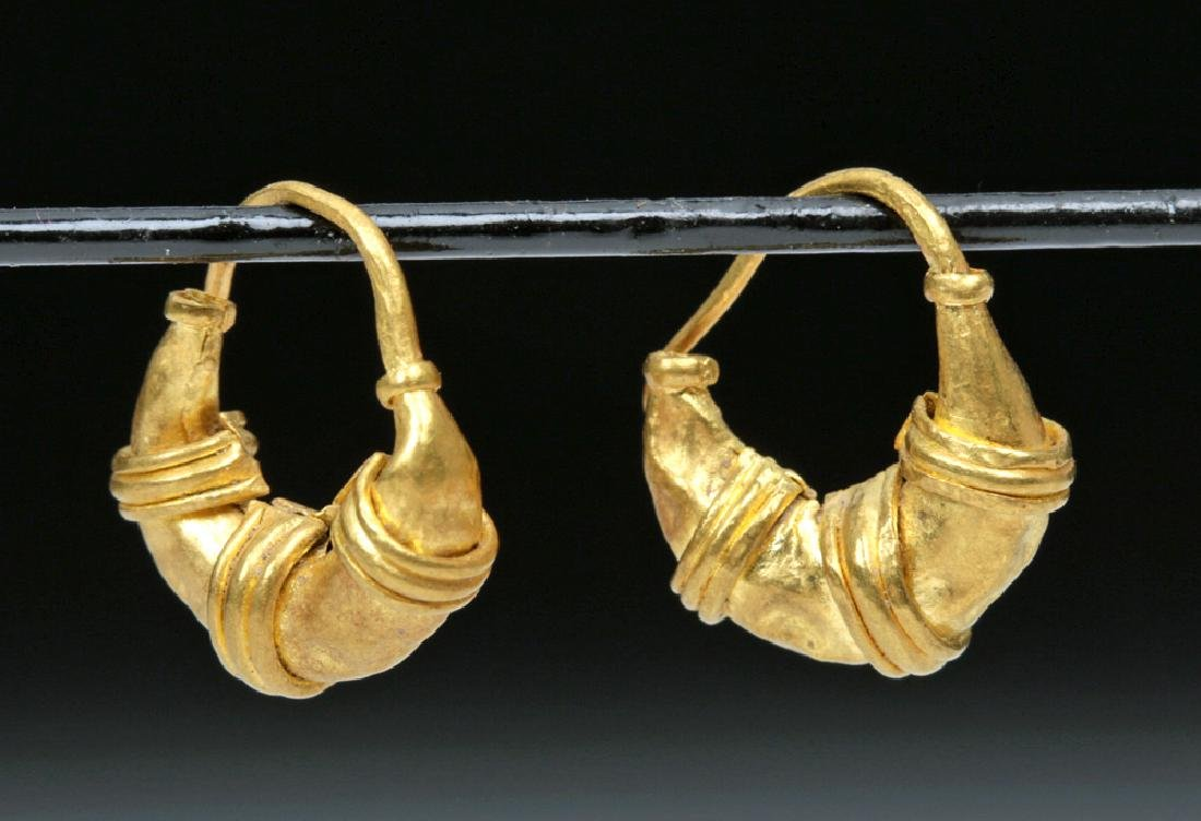 Roman 20K Gold Earrings - Lunate Design - 2.2 g