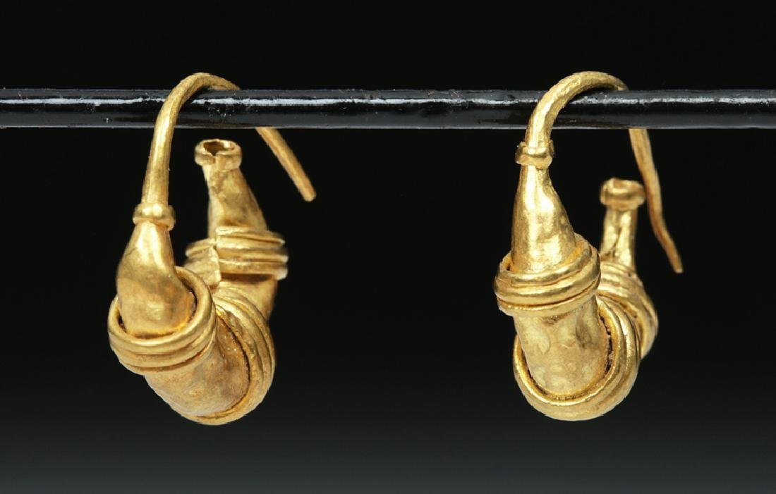 Roman 20K Gold Earrings - Lunate Design - 2.2 g - 2