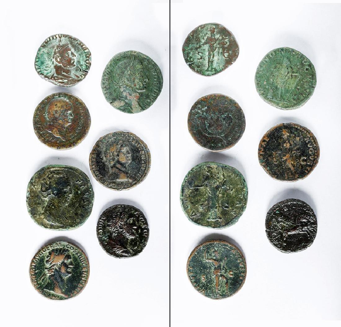 Lot of Seven Roman Bronze Coins