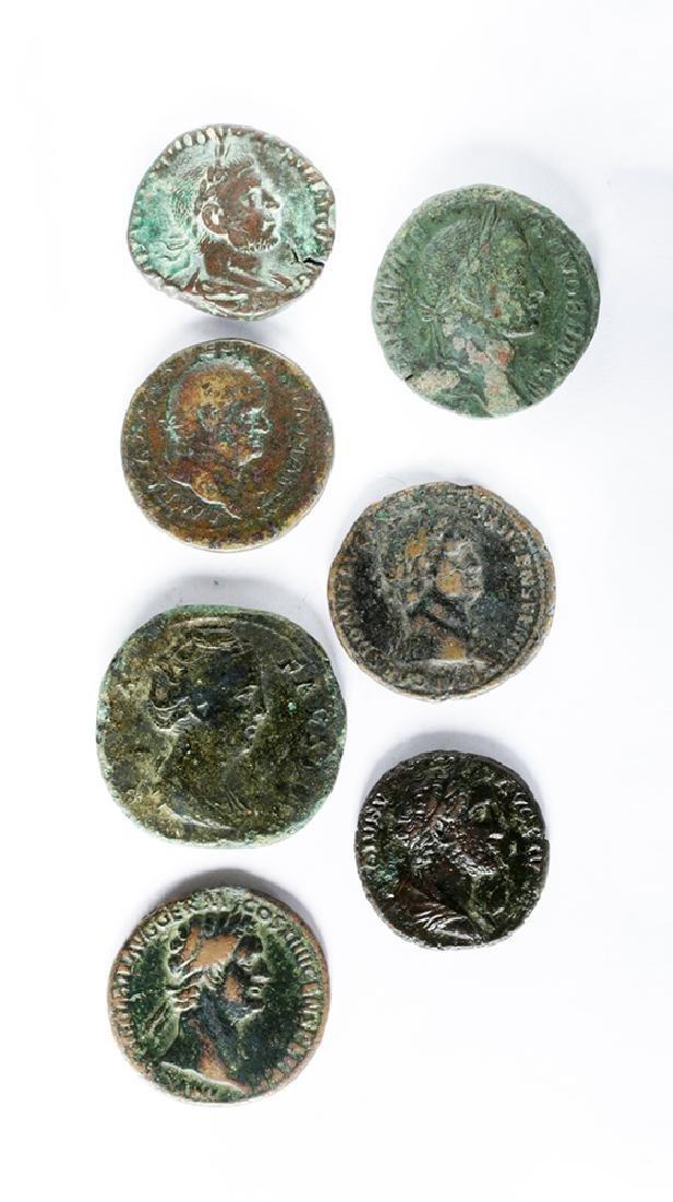 Lot of Seven Roman Bronze Coins - 2