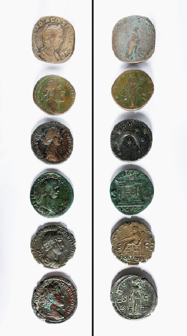 Lot of Six Roman Imperial Bronze Coins