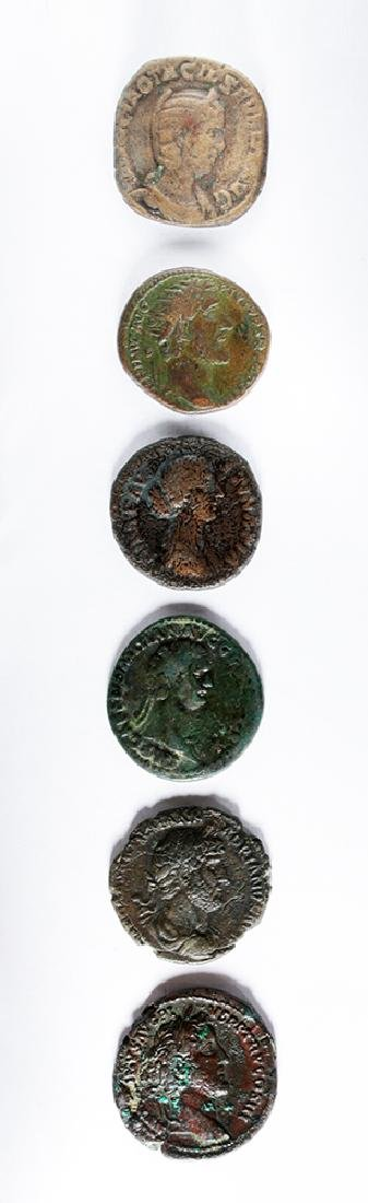 Lot of Six Roman Imperial Bronze Coins - 2
