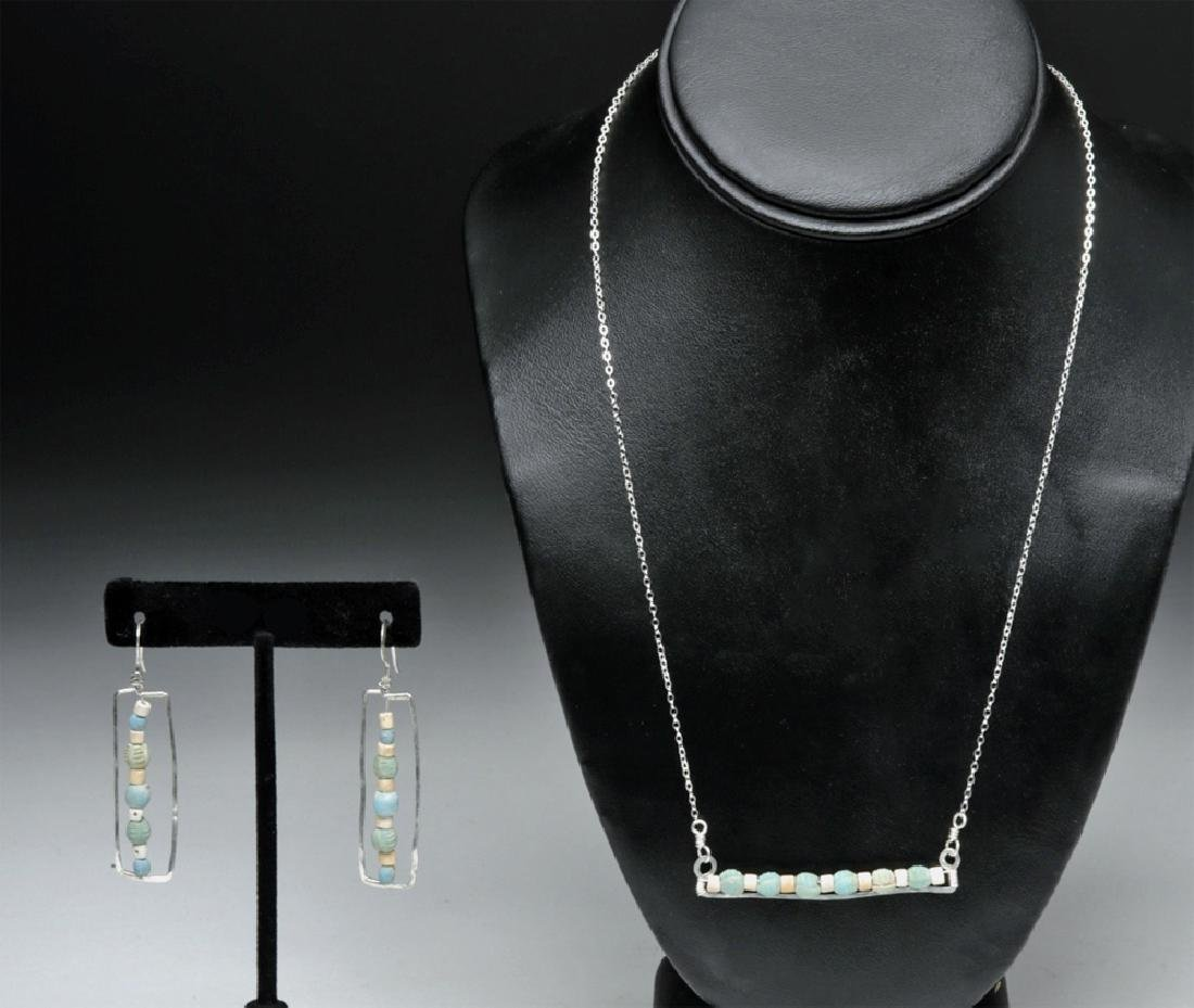Sumeria Faience Beads on Silver Bar Necklace & Earrings