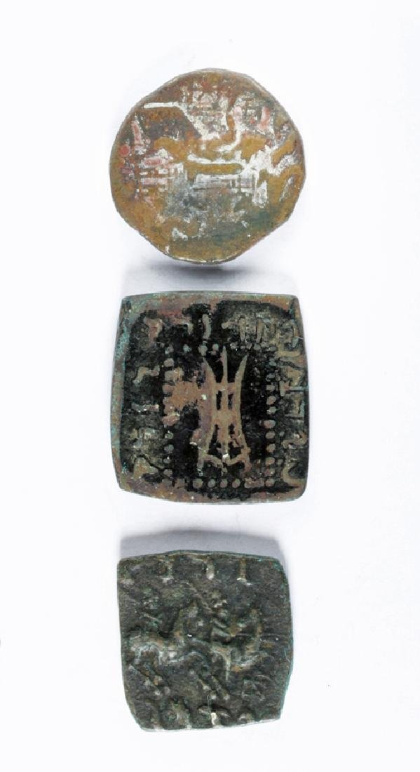 Lot of 3 Ancient Bactrian Bronze Coins - 3