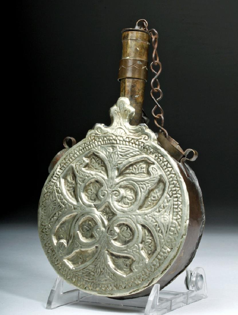 19th C. Tibetan Brass / Tin Lime Container