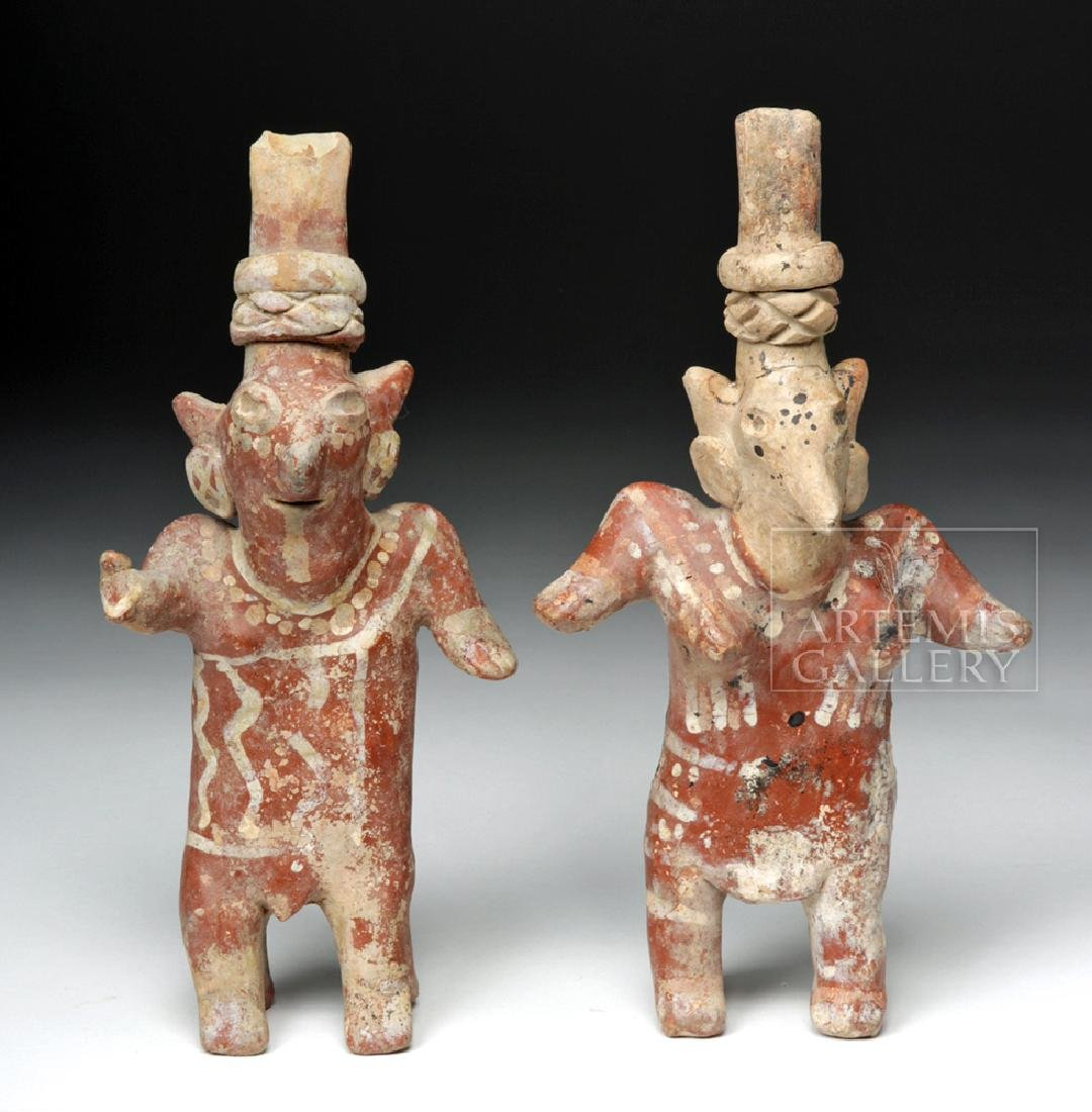 Pair of Jalisco Sheepface Female Ceramic Figures