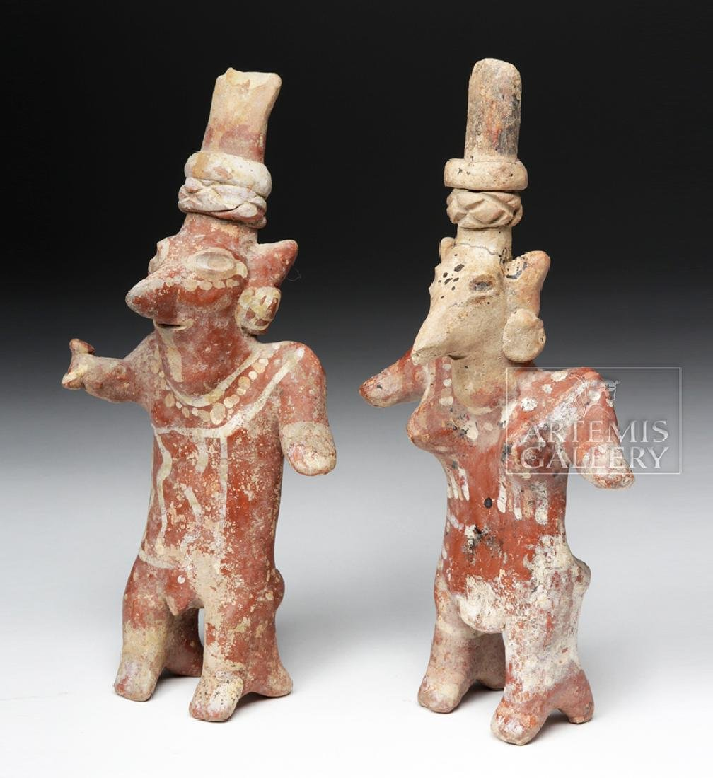 Pair of Jalisco Sheepface Female Ceramic Figures - 2