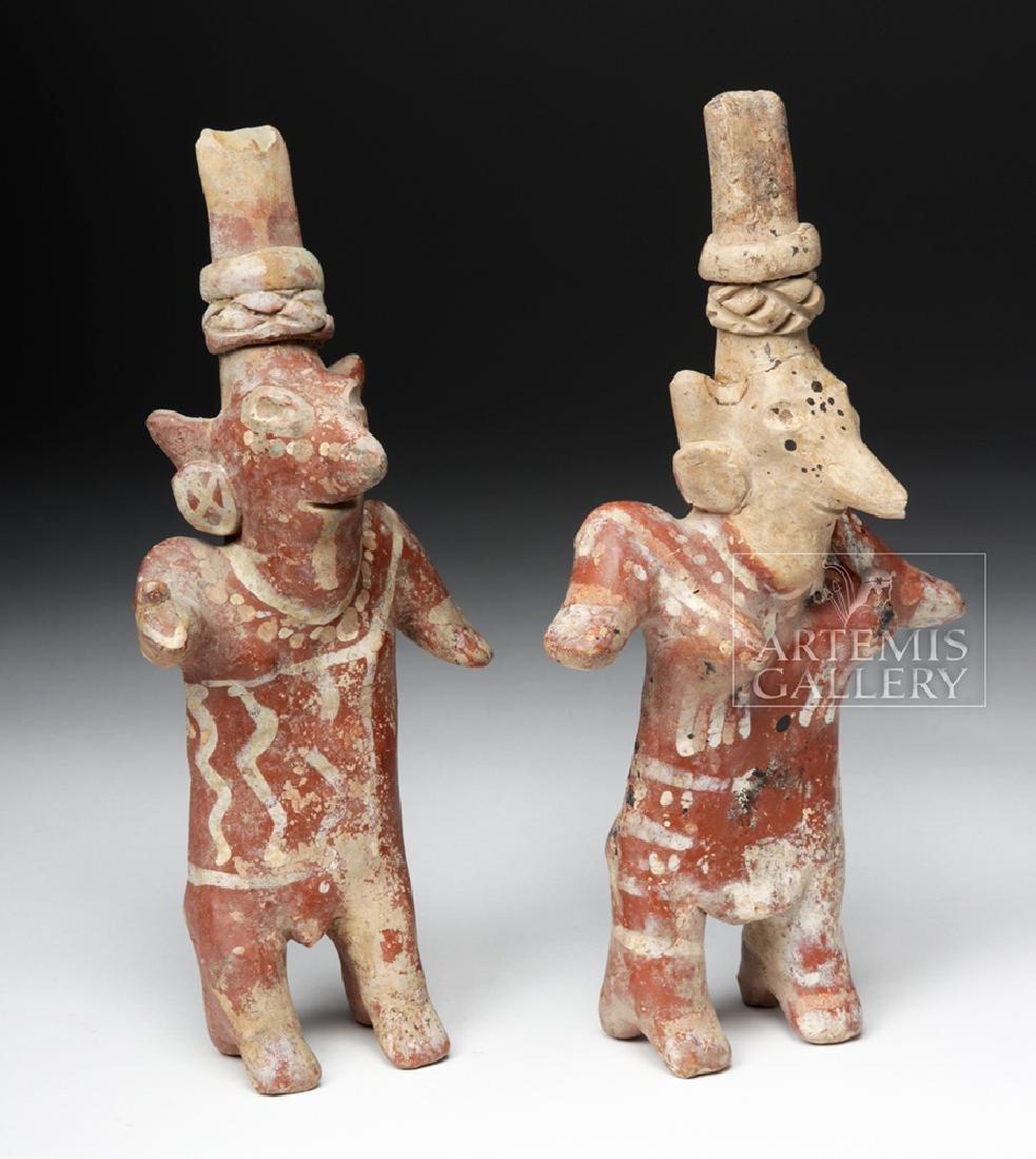 Pair of Jalisco Sheepface Female Ceramic Figures - 5