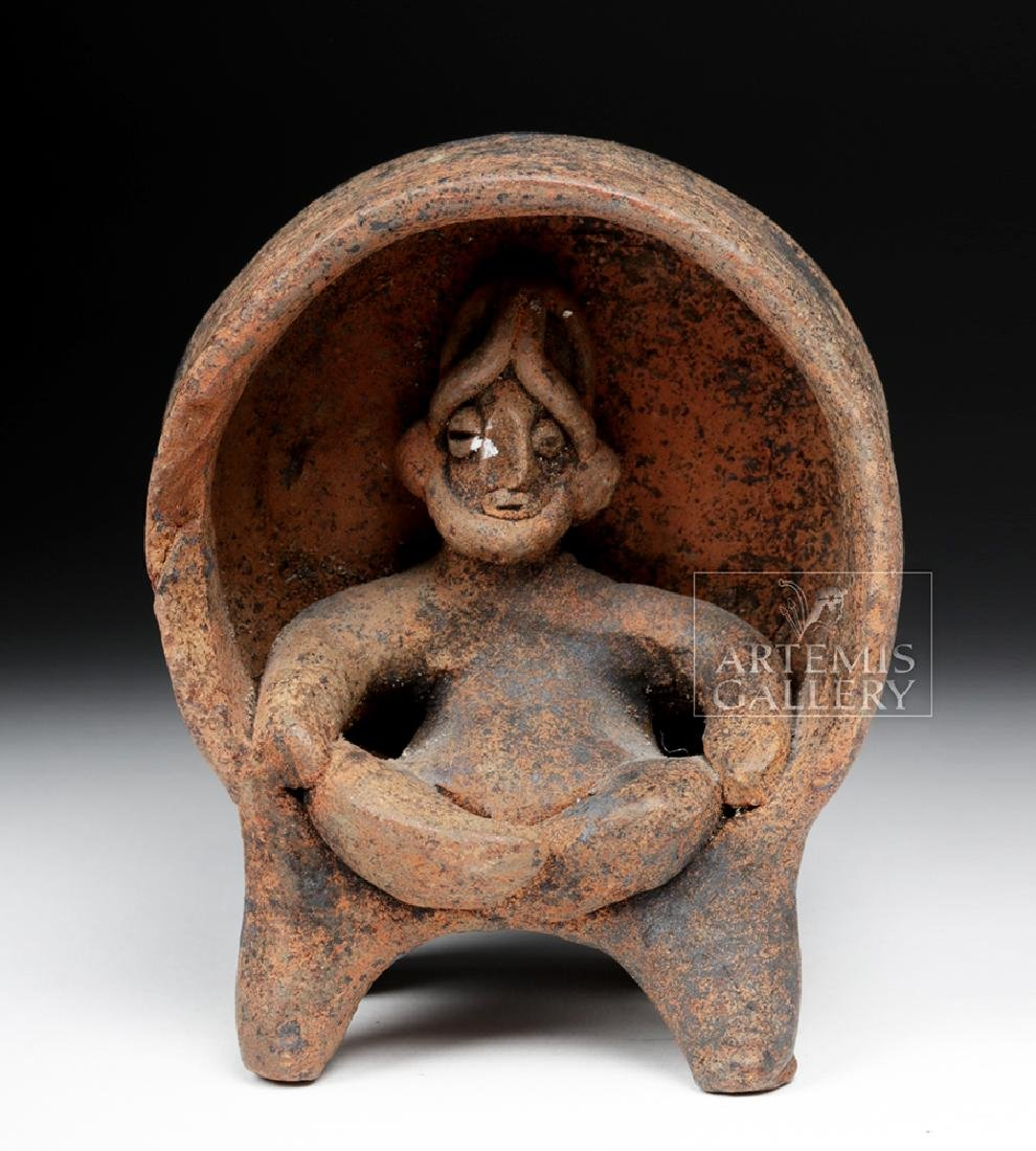 Fine Colima Pottery Figure Seated on Throne - 2