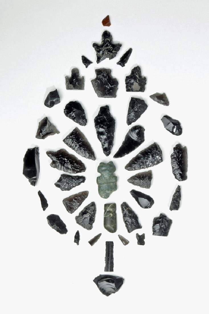 2 Pre-Columbian Stone Amulets + 36 Obsidian Fragments