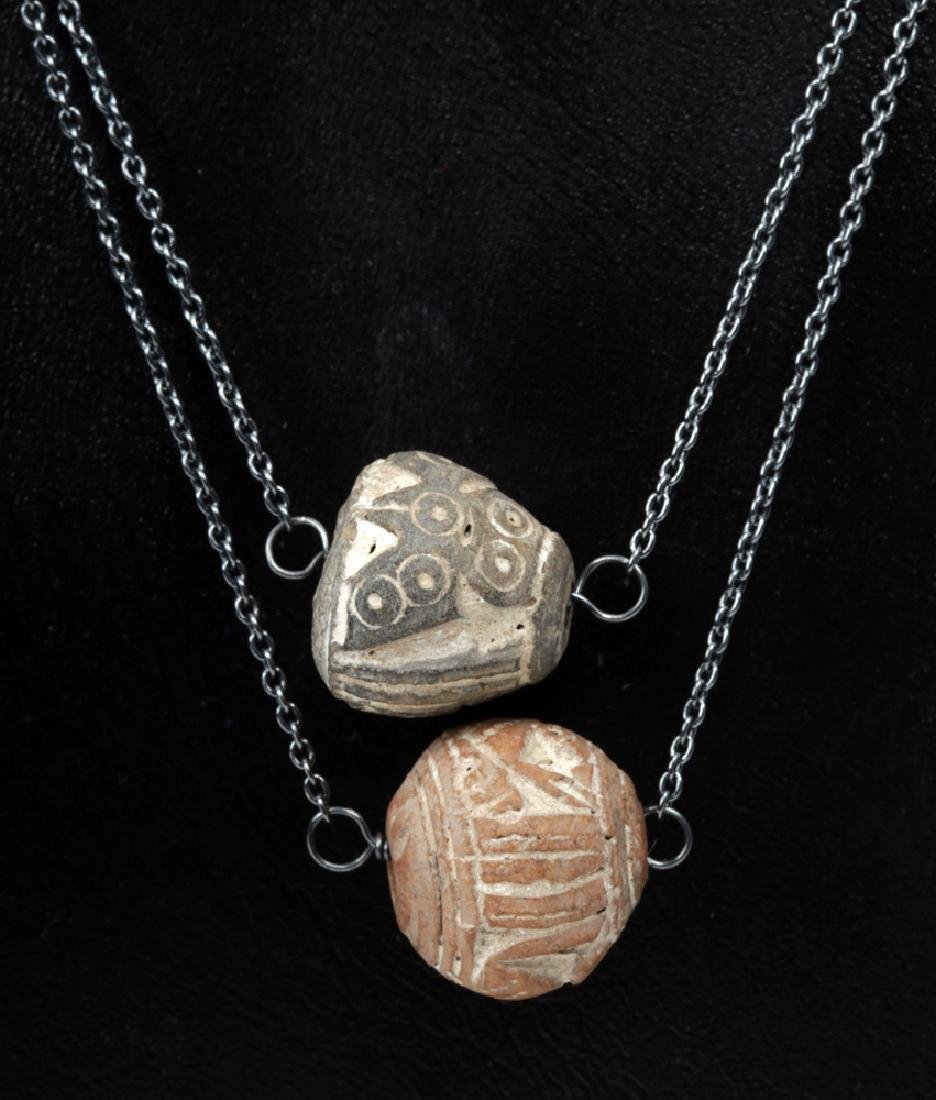 Equadorian Spindle Whorl Owl Beaded Layered Necklace