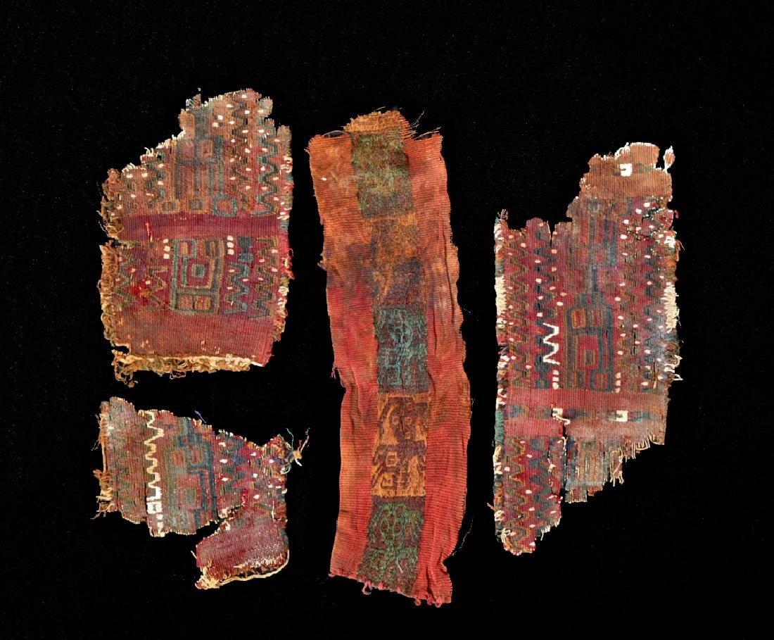 Lot of 4 Textile Fragments from Peru