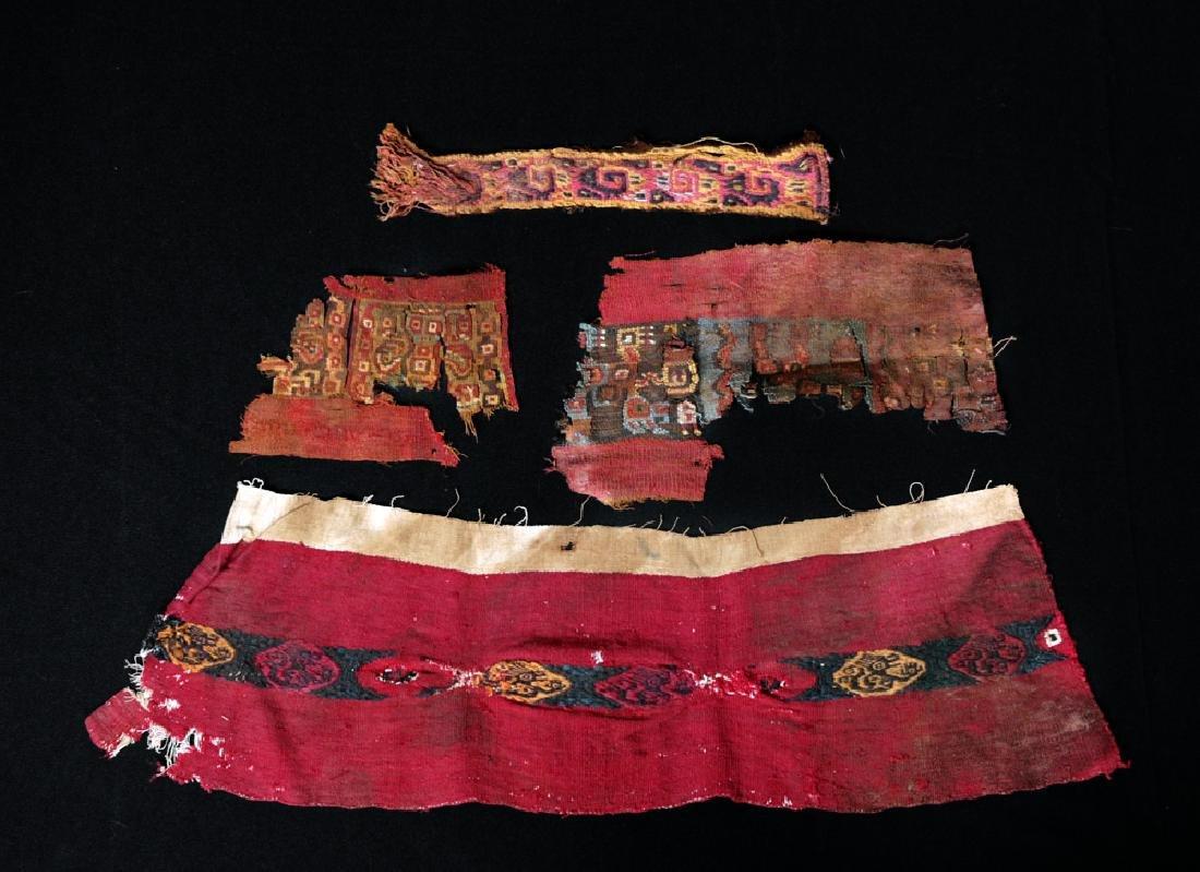 Lot of 4 Peruvian Textile Fragments