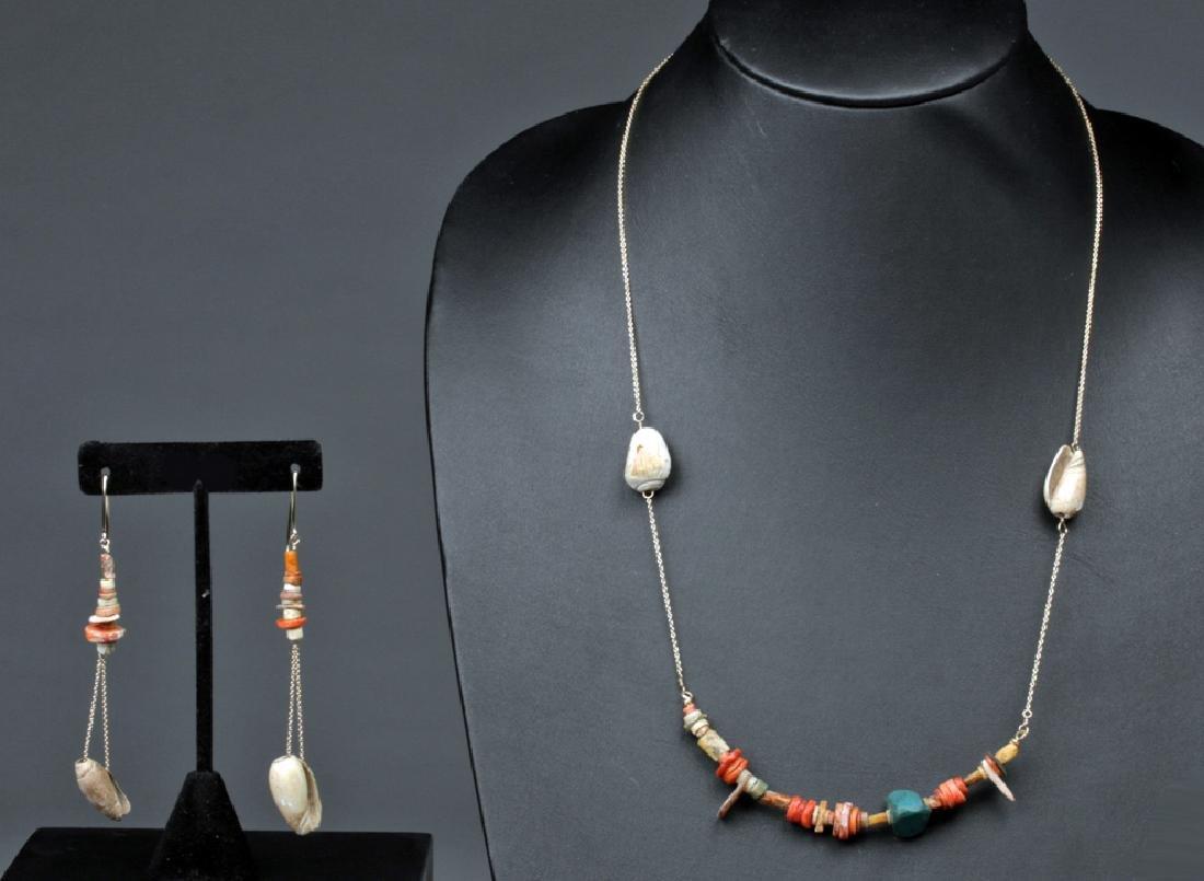 Pre-Columbian Necklace & Earrings - Shell, Bone, Stone