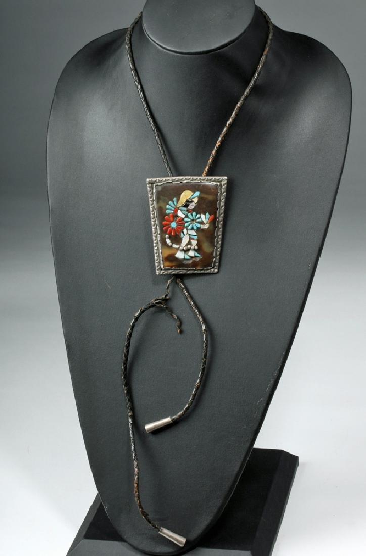 Native American Silver & Stone Bolo Tie