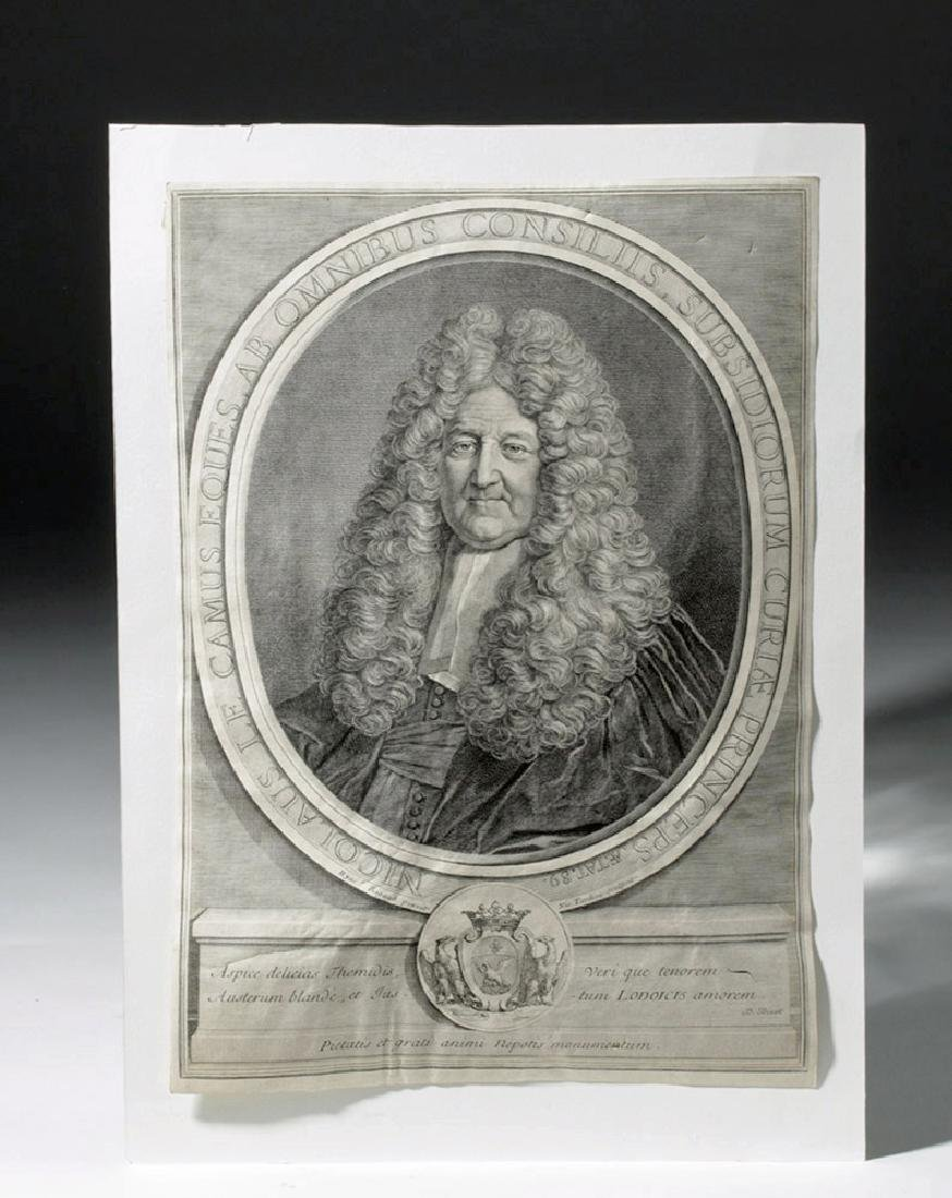18th C. French Engraved Portrait of Nicolaus Le Camus