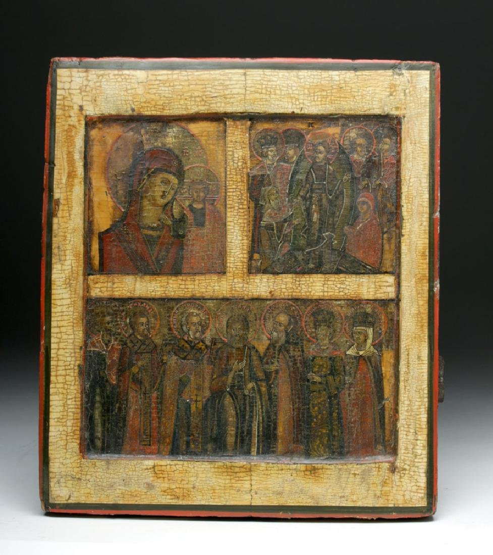 18th C. Russian Tripartite Icon - Superb!