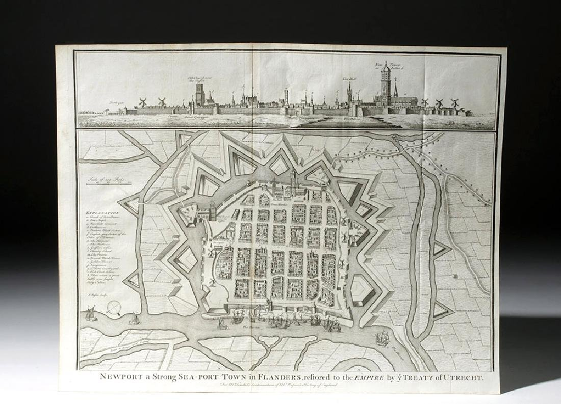 18th C. Engraving of Newport in Flanders by  J. Basire