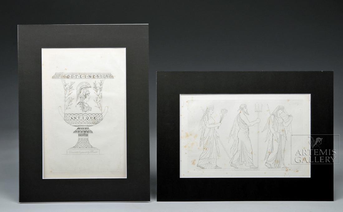 British Engravings Pair - T Baxter 1810 - Gods - Ex MFA