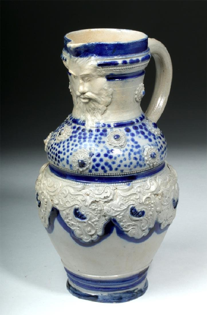 19th C. German Glazed Ceramic Wine Pitcher
