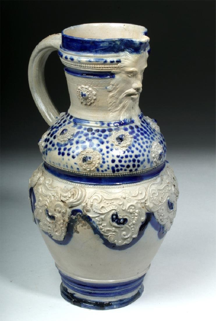 19th C. German Glazed Ceramic Wine Pitcher - 2