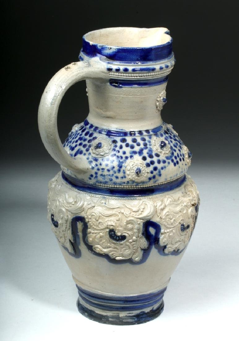 19th C. German Glazed Ceramic Wine Pitcher - 3