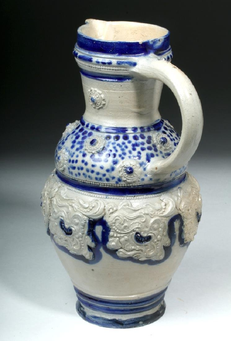 19th C. German Glazed Ceramic Wine Pitcher - 4