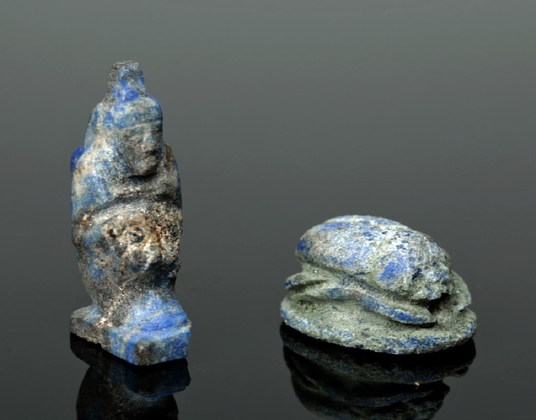 Rare Egyptian Lapis Lazuli Scarab + Kneeling Figure