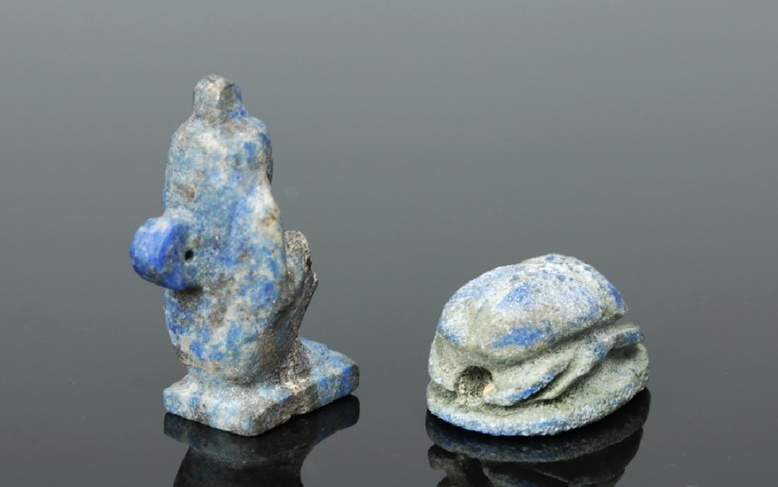 Rare Egyptian Lapis Lazuli Scarab + Kneeling Figure - 3
